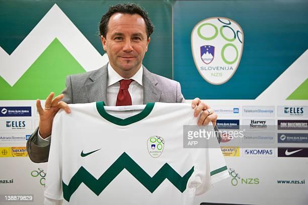 Slavisa Stojanovic, new head coach of Slovenian Football Team poses for photos after a press conference held by Slovenian Football Association at...