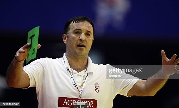 Slavko COLUZA , coach Kroatien Handball Männer Europameisterschaft 2012 in Serbien Hauptrunde : Spanien - Kroatien 10 th mens european championchip...