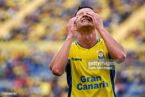 Slavoljub Srnic of Las Palmas reacts during the match between Las Palmas and Cadiz at Estadio Gran Canaria on February 08 2020 in Las Palmas Spain