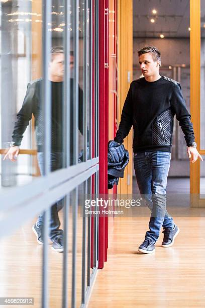 Slawomir Peszko of 1 FC Koeln arrives prior to the decision of DFB Court on the objection to the length of a 3 match ban in the DFB Cup which was...