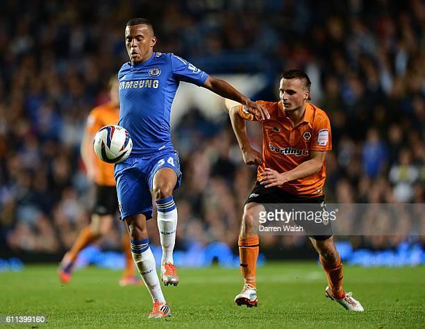 Slawomir Peszko Wolverhampton Wanderers and Ryan Bertrand Chelsea battle for the ball
