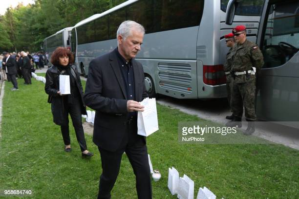 Slawomir Rybicki is seen in Gdansk Poland at the Srebrzysko cemetery on 14 May 2018 The prosecutor's office against the will of the deceased's family...
