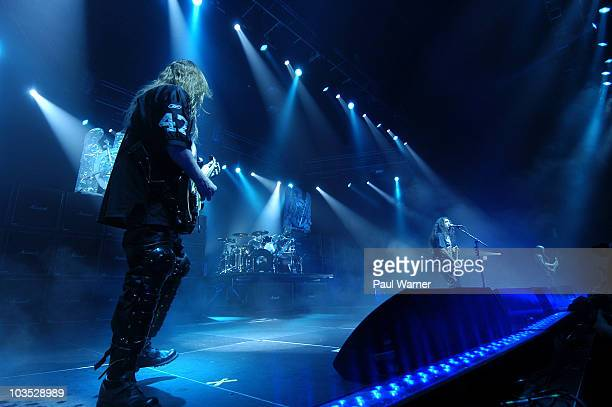 Slayer from left guitarist Jeff Hanneman drummer Dave Lombardo bassist Tom Araya and guitarist Kerry King perform during the American Carnage Tour at...