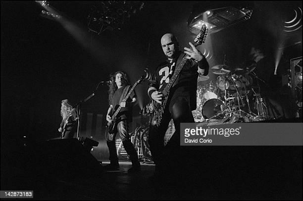 Slayer LR Jeff HannemanTom Araya and Kerry King performing at Roseland Ballroom New York 17 February 1995