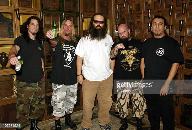 Slayer with producer Rick Rubin during Slayer Album Release Party For 'God Hates Us All' at Hollywood Forever Cemetery in Hollywood California
