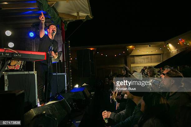 Sleaford Mods plays live at Banksy's Dismaland The image of PM Cameron is part of an artwork by kennardphillipps called 'Shove' Singer Jason...