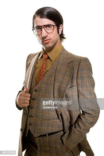 sleazy retro businessman - tweed stock pictures, royalty-free photos & images
