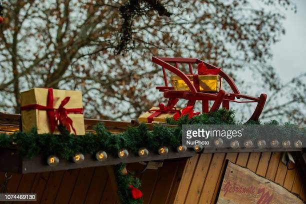 Sled and presents Christmas Market in Ingolstadt known for producing Audi