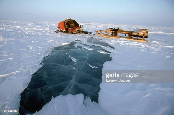 A sled belonging to a hunter sits on the frozen tundra near the village of Syndassko Russia The Dolgans traditionally a nomadic people who live along...