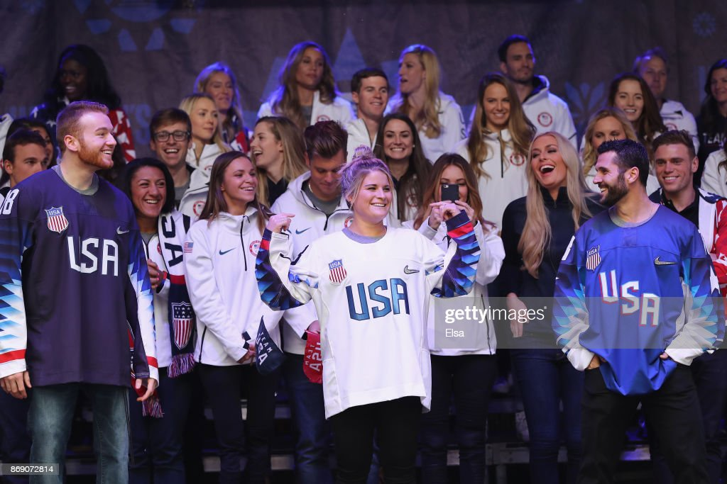 Sled hockey player Declan Farmer and ice hockey players Brianna Decker and Brian Gionta attend the 100 Days Out 2018 PyeongChang Winter Olympics Celebration - Team USA in Times Square on November 1, 2017 in New York City.