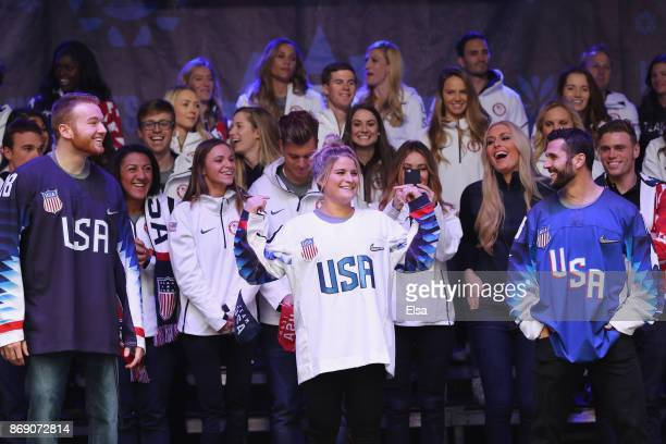 Sled hockey player Declan Farmer and ice hockey players Brianna Decker and Brian Gionta attend the 100 Days Out 2018 PyeongChang Winter Olympics...
