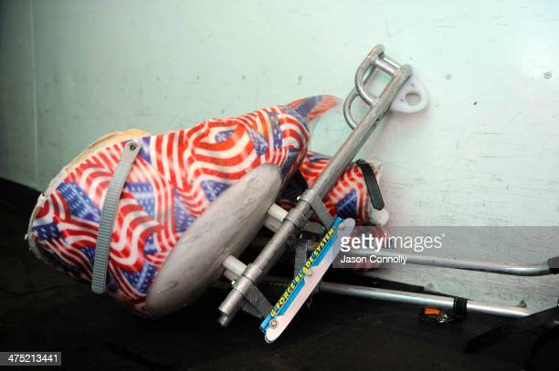 A sled leans up against the boards prior to the US Paralympic Sled Hockey Team's practice at the Sertich Ice Arena on February 26 2014 in Colorado...