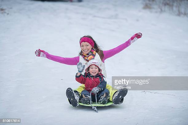 Sledding on a Winter Day