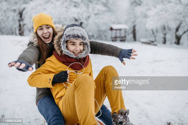 sledding time - 12 17 months stock pictures, royalty-free photos & images