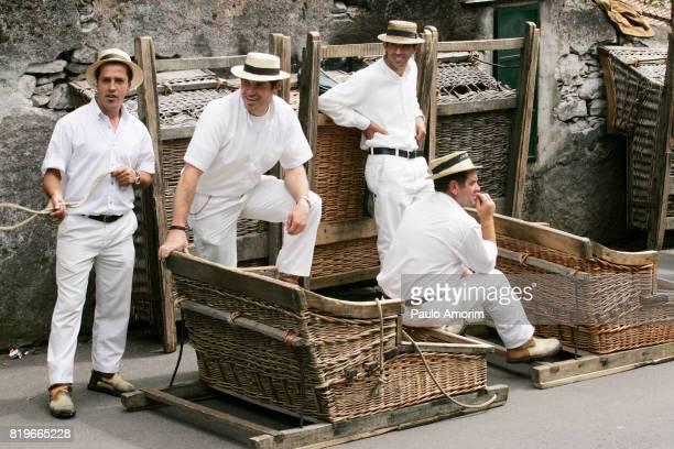 sledge drivers in funchal,madeira island - isola di madeira foto e immagini stock