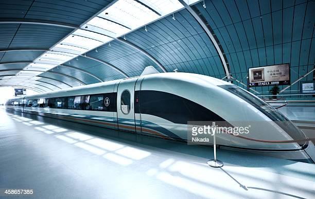 Sleek futuristic train in Shanghai, China