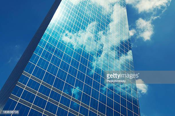 Sleek Glass Office Skyscraper Blue Sky Business Reflection