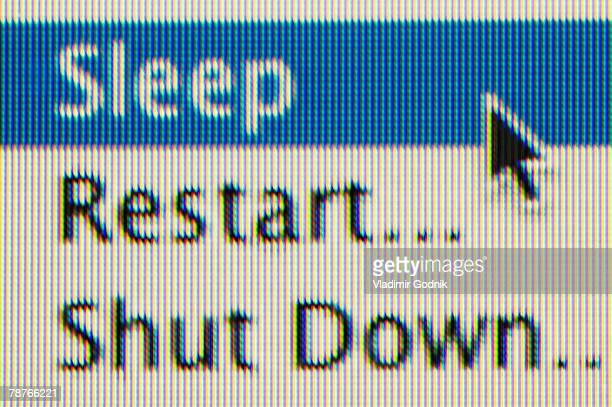 Sleep, Restart, Shut Down options on a computer screen