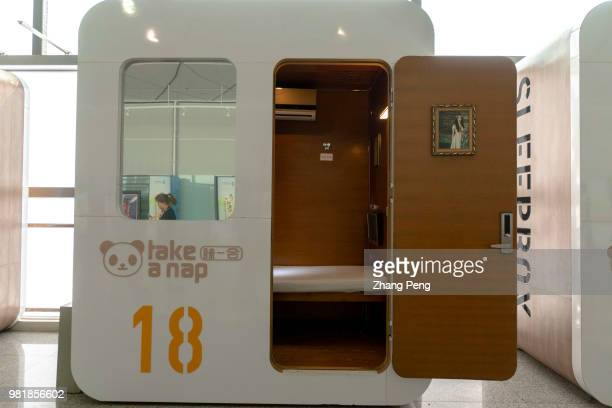 XI'AN SHAANXI PROVINCE CHINA Sleepbox a capsule hotel in Xianyang airport for passengers taking a nap with 50 Yuan per hour