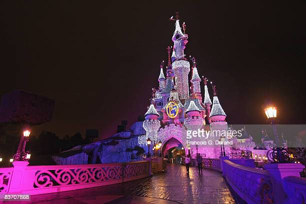 Sleeping Beauty Castle of Disneyland Resort Paris during the Christmas Lights Switching on day, on November 15, 2008 in Marne la Valle, France.