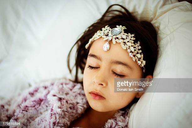 sleeping beauty with tiara - sleeping beauty stock photos and pictures