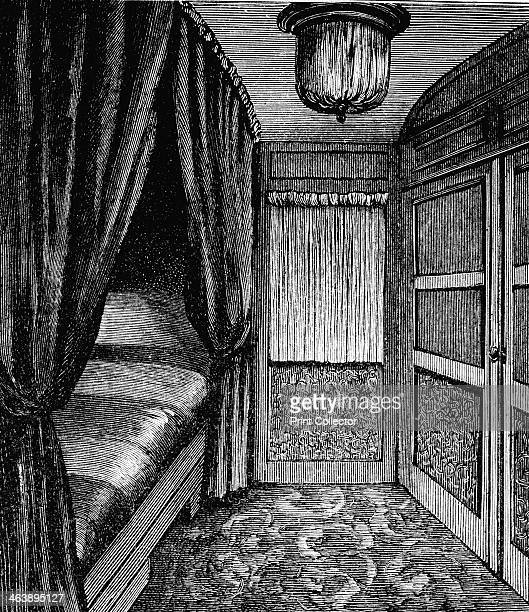 Sleeping compartment on the Orient Express c1895 Wood engraving published Leipzig