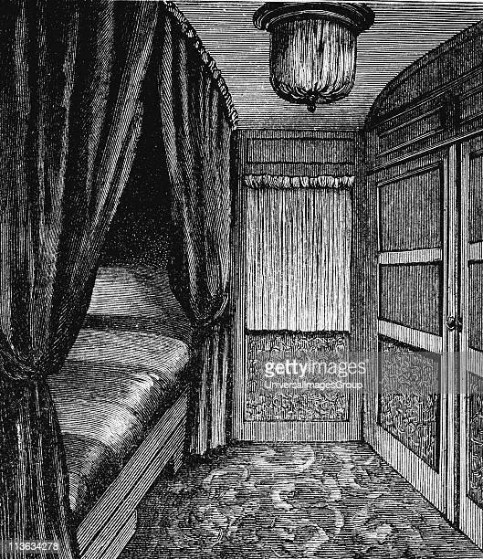 Sleeping compartment on the Orient Express Wood engraving published Leipzig c1895