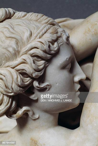 Sleeping hermaphrodite detail marble sculpture from Esquiline hill Rome Italy Roman civilisation 2nd century AD Rome Museo Nazionale Romano Terme Di...