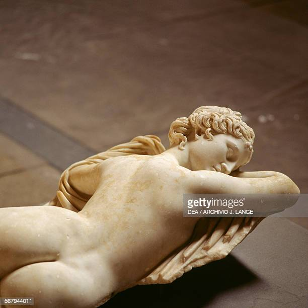 Sleeping Hermaphrodite detail marble sculpture from the Esquiline Hill Rome Italy Roman civilisation 2nd century AD Roma Museo Nazionale Romano...