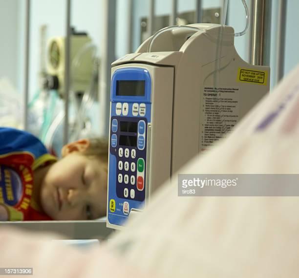 Sleeping in hospital cot