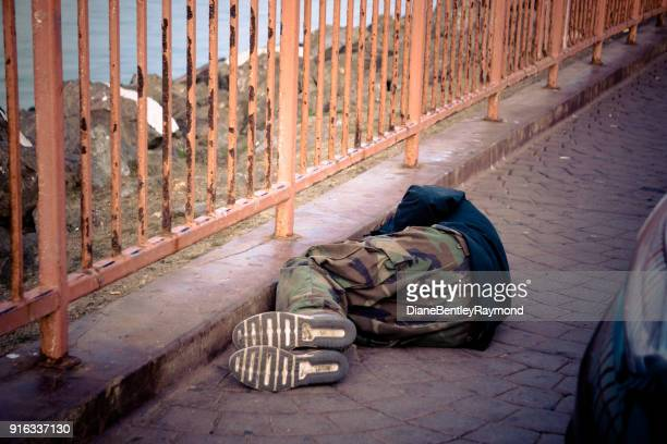 sleeping in the street - treasure island california stock pictures, royalty-free photos & images
