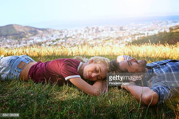 Schlafen auf dem Berg nach oben