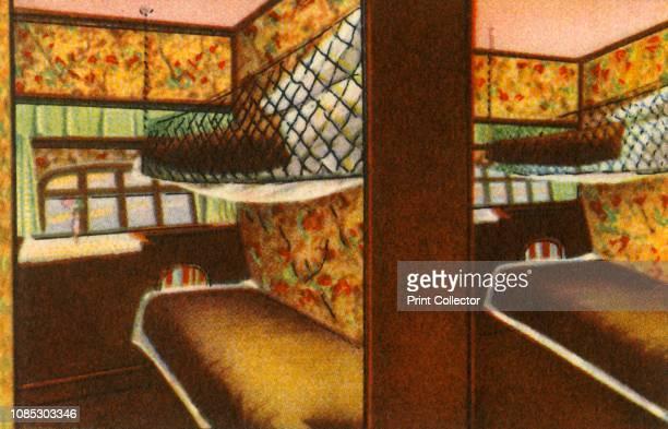 Sleeping quarters on board a zeppelin 1932 Cabin on board the LZ 127 Graf Zeppelin German airship From Die Eroberung Der Luft cigarette card album...