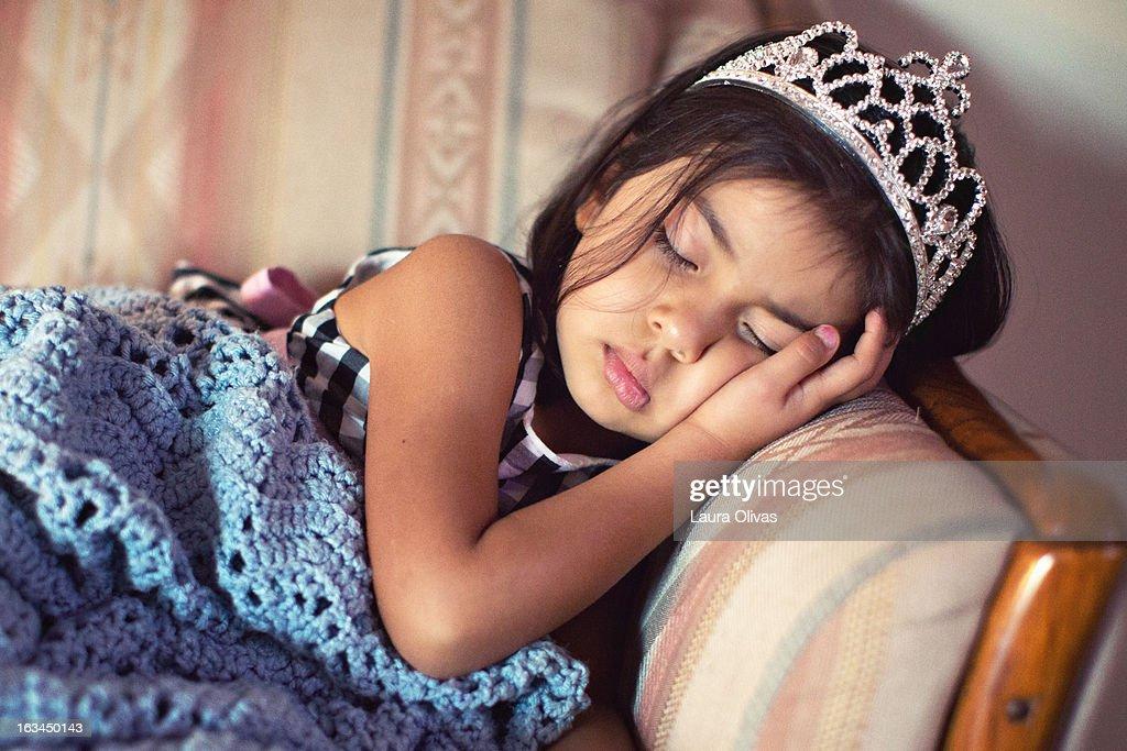 Sleeping Toddler Wearing Tiara : Stock Photo