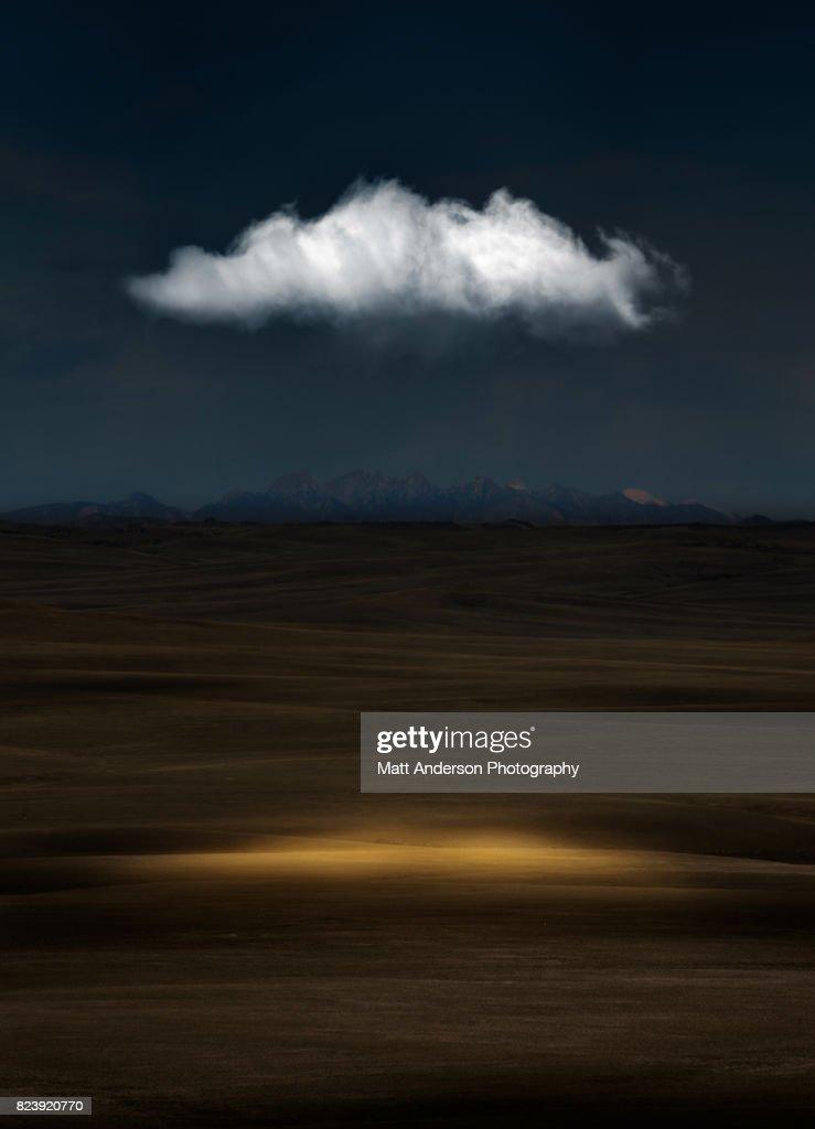Sleeping Visions - A single cloud in the night Utah sky. : Stock Photo