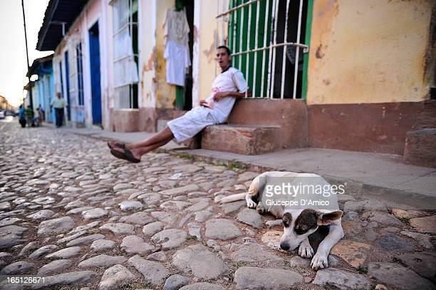 Sleepy dog in Trinidad Cuba