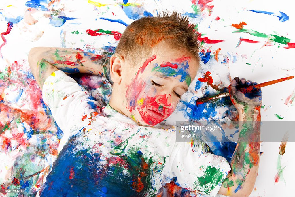 sleepy little painter XXXL : Stock Photo