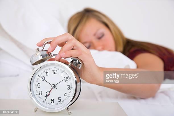Sleepy Teenage Girl Laying in Bed