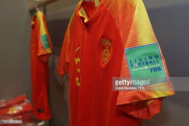 Sleeve badge on a China shirt prior to the FIFA U20 Women's World Cup France 2018 group D match between Germany and China PR at Stade de Marville on...