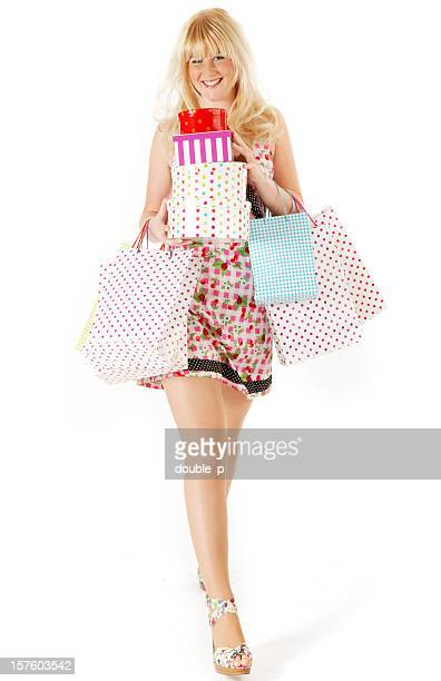 slender shopper - long legs short skirts stock photos and pictures
