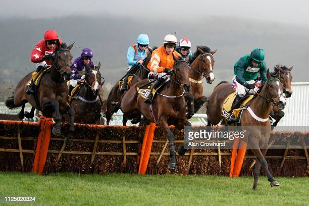 Slevin riding Fakir D'Oudairies on their way to winning The JCB Triumph Trial Juvenile Hurdle at Cheltenham Racecourse on January 26 2019 in...