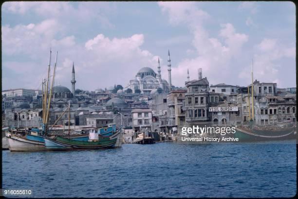 Sôleymaniye Mosque and Golden Horn Harbor Bosphorus Istanbul Turkey 1959