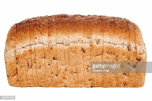 Slice brown granary loaf of bread