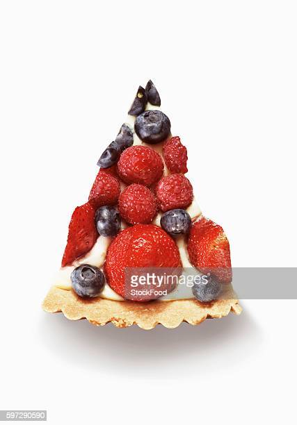 Slice of Berry Pie; From Above; White Background