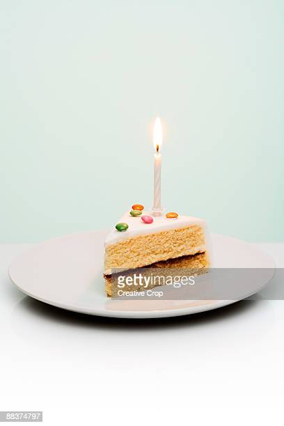 Slice Of Birthday Cake With Candle Sticking Out