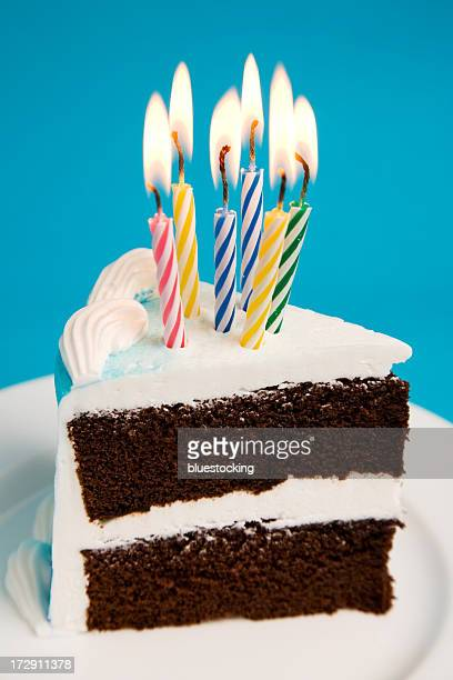 Slice of Birthday Cake with Candles