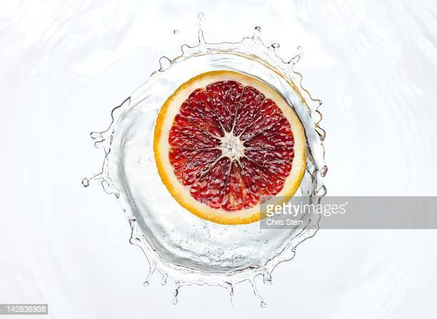 Slice of blood orange splash
