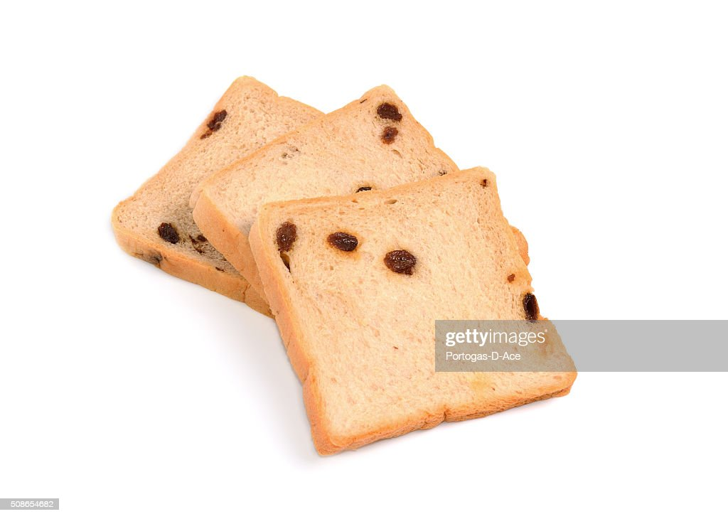 slice of bread on white background : Stock Photo