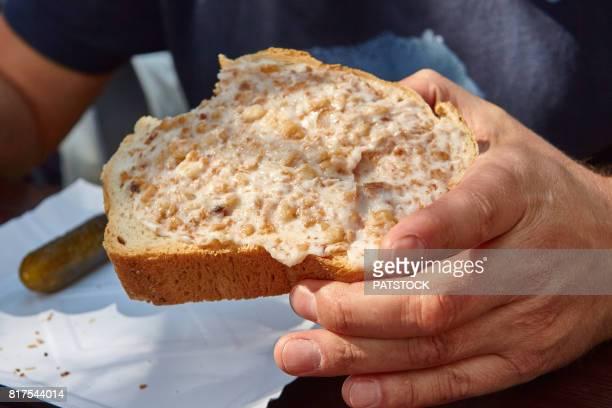 Slice of bread with lard