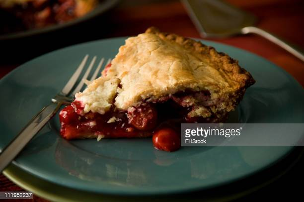 Slice of Cherry Pie with Fork on Blue Plate